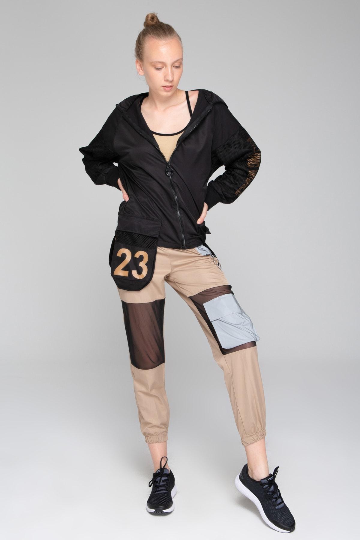 İzumi Sport Kadın Sütlü Kahve Reflöktör Tül Detaylı Pantolon 1