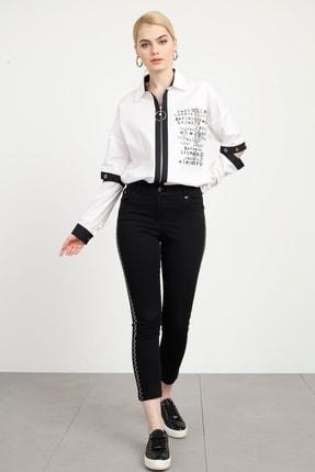 Moda İlgi Kadın Siyah Beş Cep Taşlı Jean Pantolon Siyah