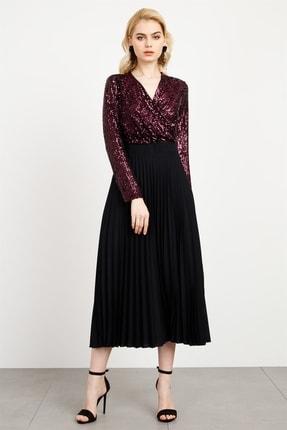 Moda İlgi Kadın Mor Pullu Pilisoley Elbise