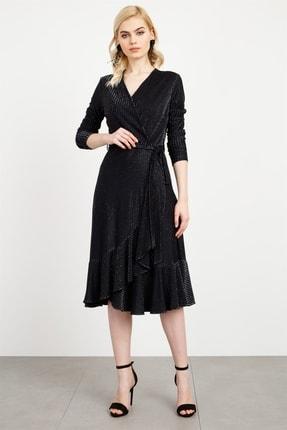 Moda İlgi Kadın Siyah Kurveze Volanlı Sim Elbise