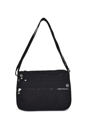 SMART BAGS Kadın Siyah Krinkıl Kumaş Çapraz Çanta