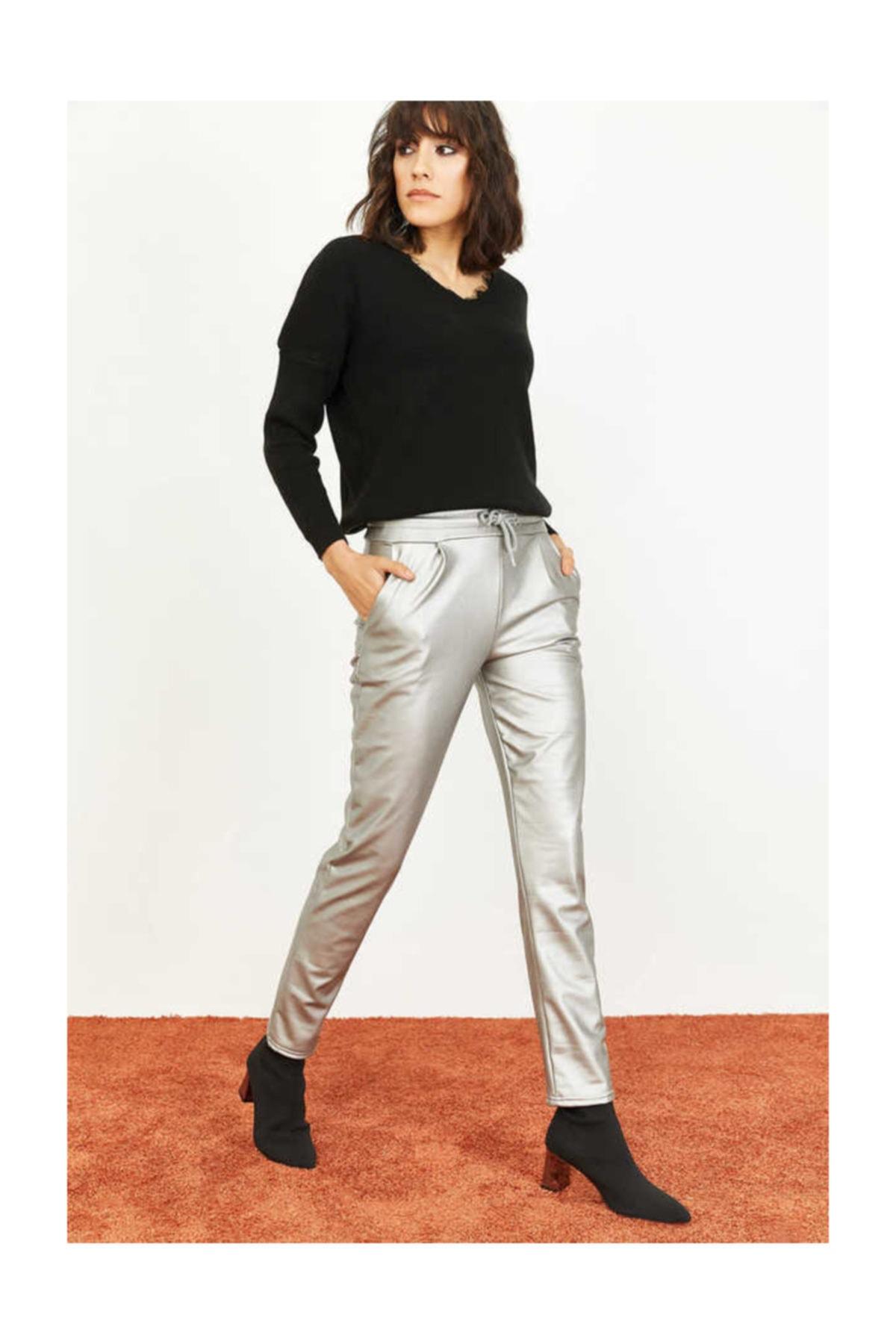 Bianco Lucci Kadın Beli Lastkli Içi Şardonlu Cepli Deri Pantolon 1