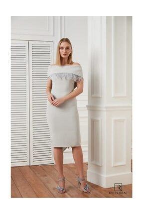 RENGIN Yakası Tüy Detaylı Arkadan Bağlı Elbise