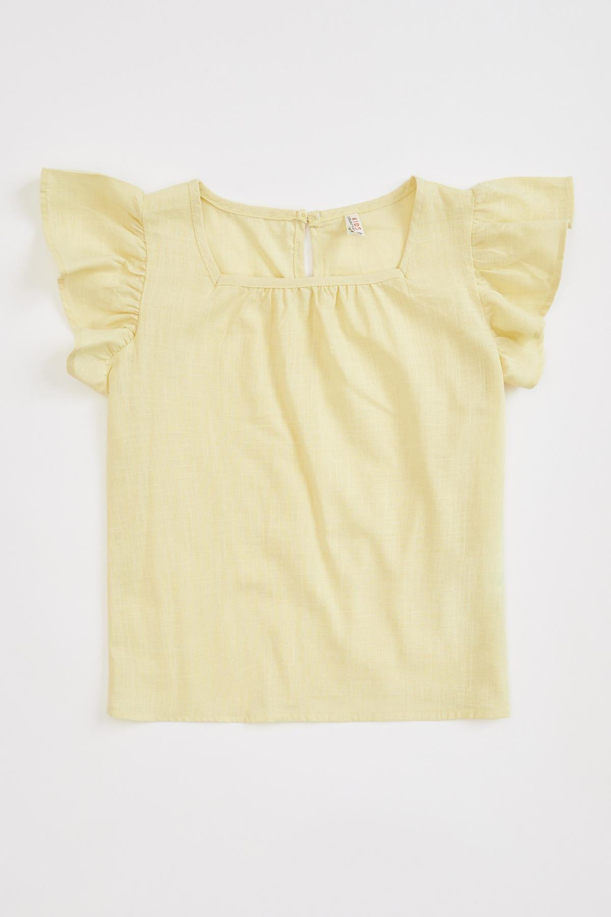 DeFacto Kız Çocuk Fırfırlı Kısa Kollu Bluz