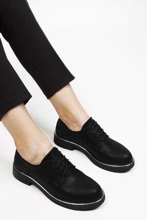 Marjin Siyah Petek Kadın Terva Düz Ayakkabı