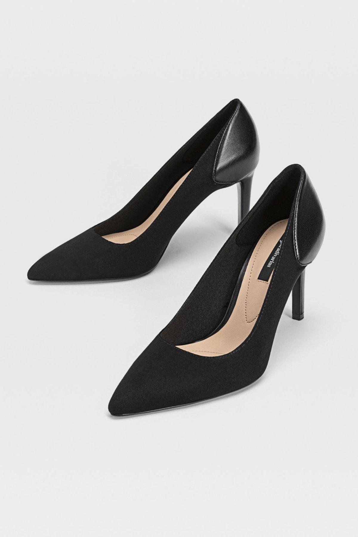Stradivarius Kadın Siyah Yüksek Topuklu Kontrast Ayakkabı 19650670 2