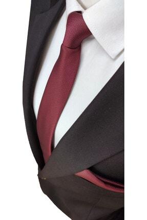 Elegante Cravatte Koyu Bordo Renginde Armürlü Dokuma Kravat Ve Mendil