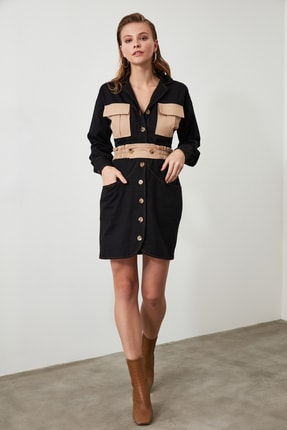 TRENDYOLMİLLA Siyah Cep Detaylı Gömlek Elbise TWOAW21EL0325