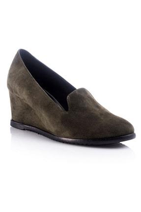 trendytopuk Haki Hakiki Süet Dolgu Topuklu Ayakkabı
