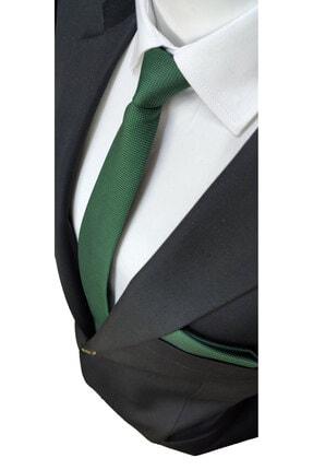 Elegante Cravatte Yeşil Renginde Armürlü Dokuma Kravat Ve Mendil