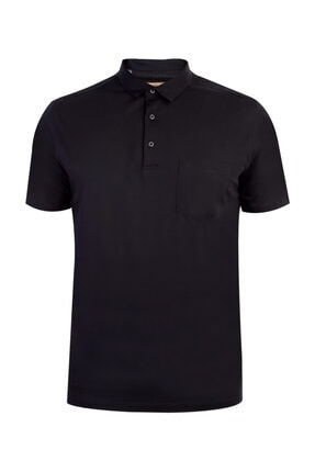 Kiğılı Erkek Siyah Polo Yaka Süprem Regular Fit T-Shirt
