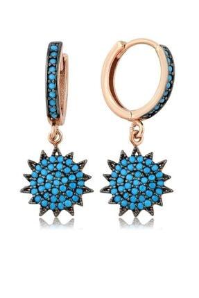 Mai Silver Kadın Mavi Rose 925 Gümüş Firuze Taşlı Güneş Küpe MA_KP_1198