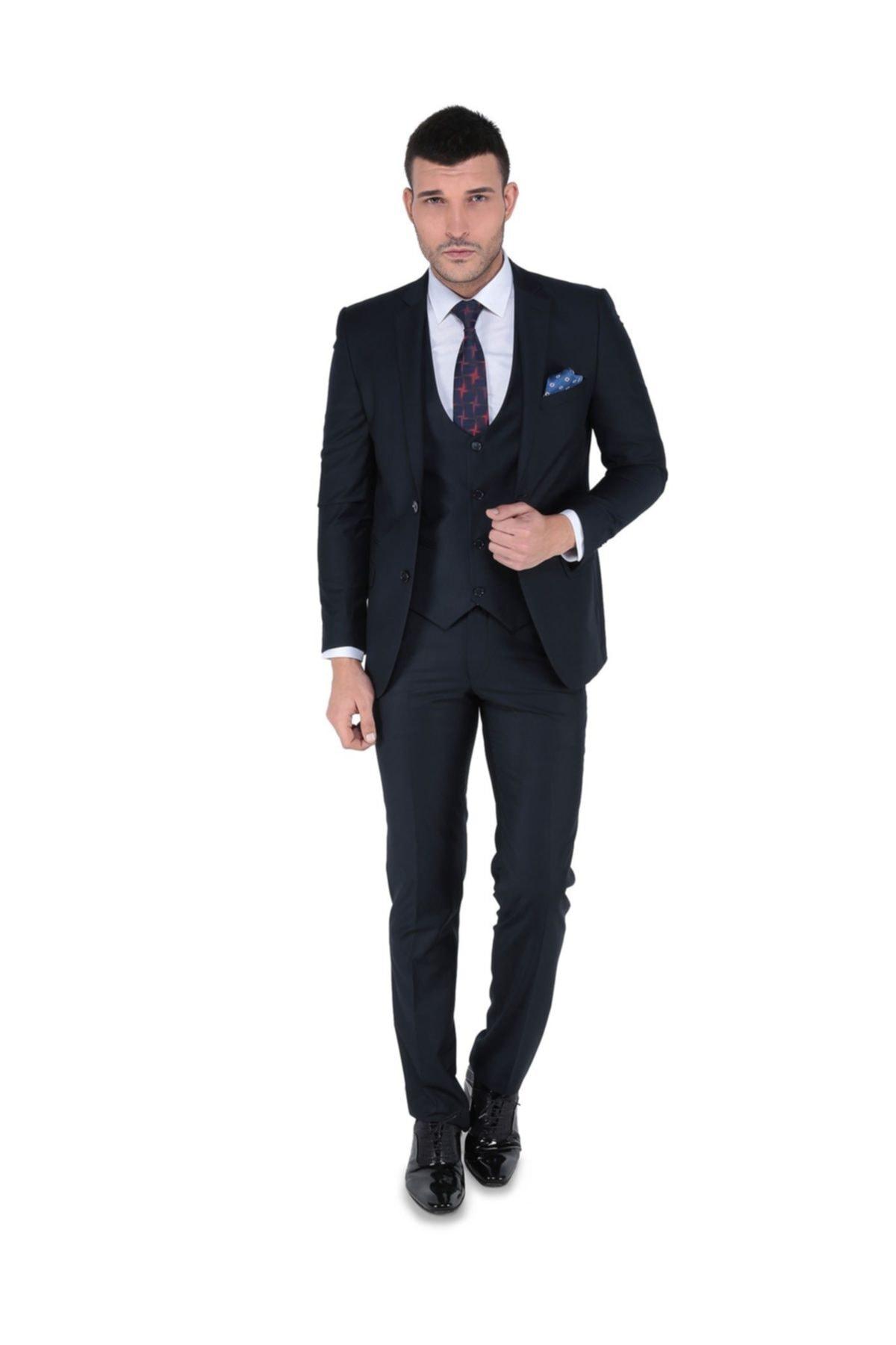 Buenza Akf Mono Yelekli Dar Kalıp Takım Elbise-lacivert 1