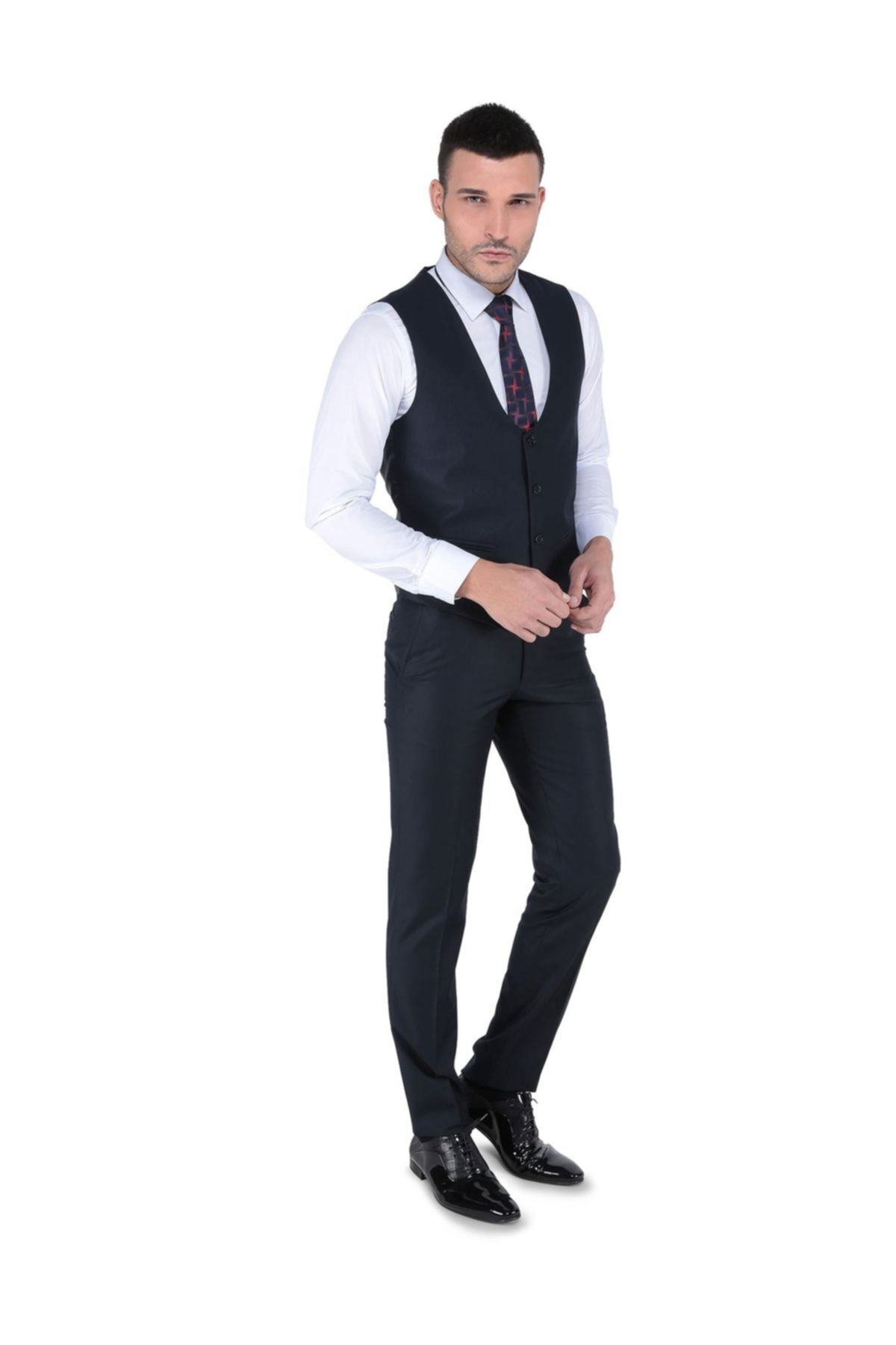 Buenza Akf Mono Yelekli Dar Kalıp Takım Elbise-lacivert 2