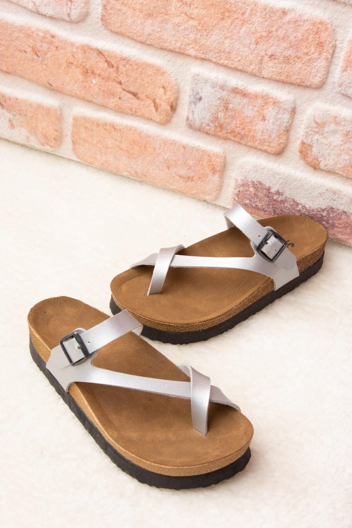 Fox Shoes Kadın Gümüş Terlik B777753009 1