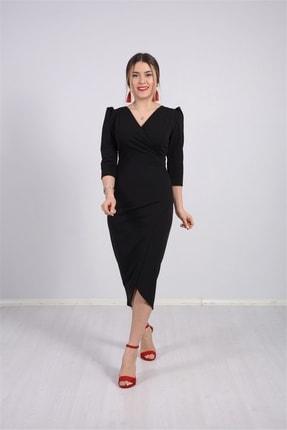 giyimmasalı Kadın Siyah Krep Kumaş Midi Boy Elbise