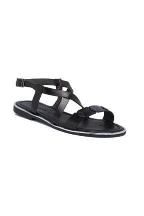 Tergan Kadın Siyah Deri Sandalet