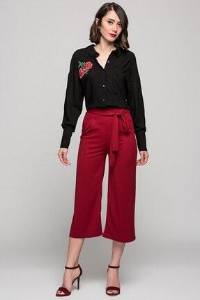 Womenice Kadın Kırmızı Beli Kuşaklı Bol Paça Midi Pantolon