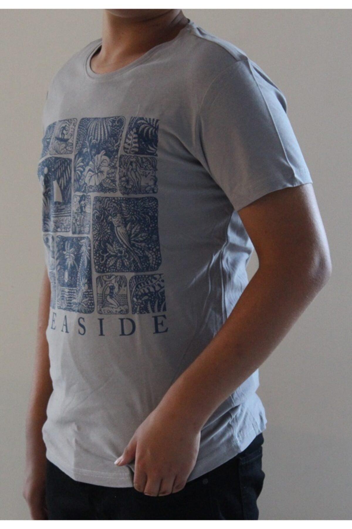 Lion Erkek Gri Bisiklet Yaka T-shirt 2711 1