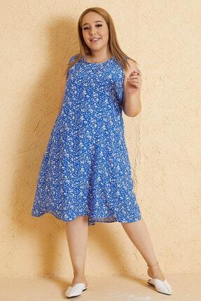 Mio Secret Büyük Beden Kadın Çiçek Desen A Form Elbise