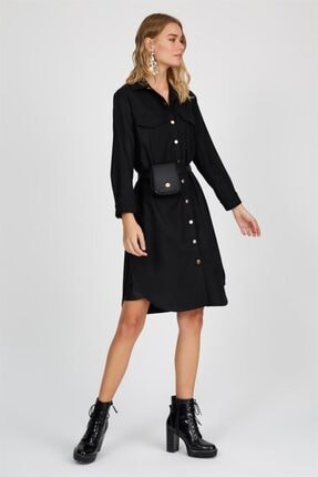 Setre Siyah Gömlek Yaka Uzun Kol Midi Elbise