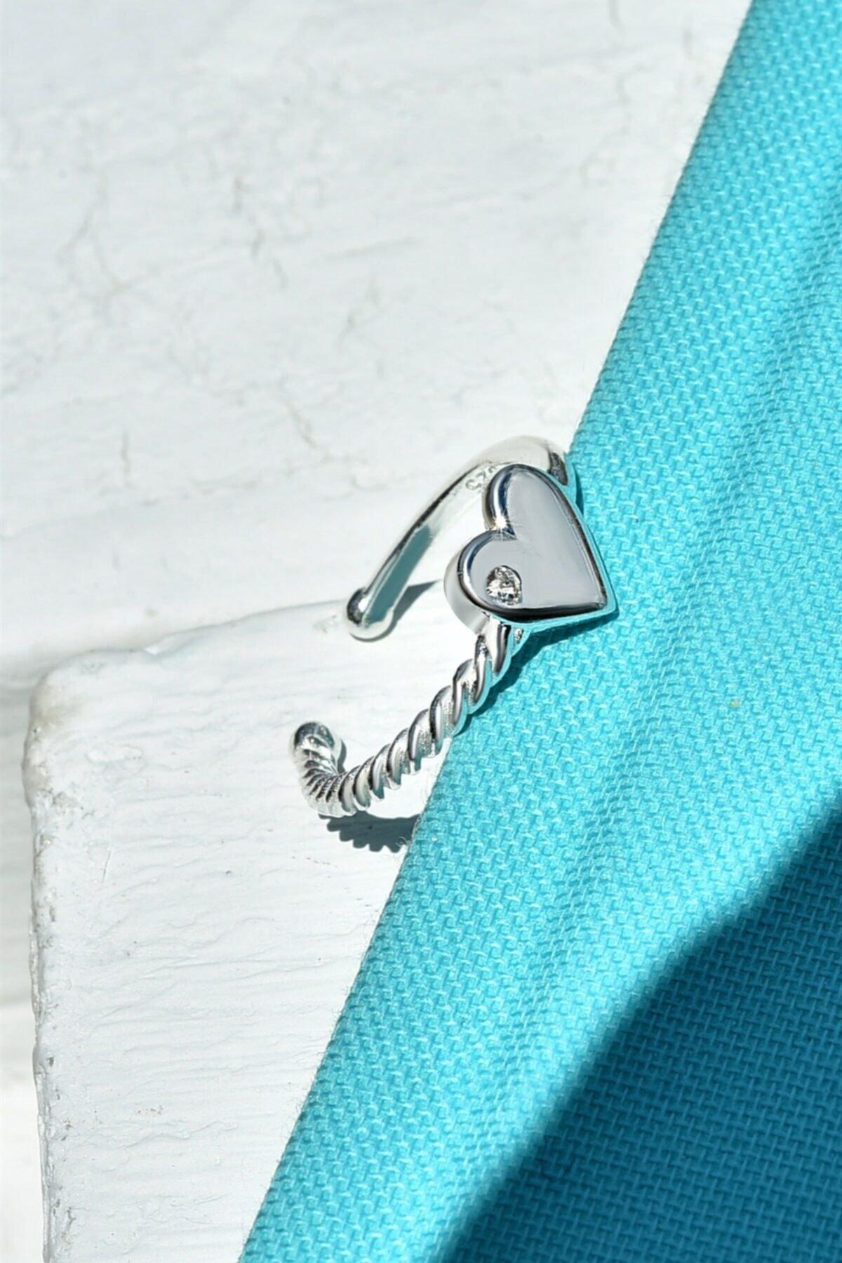 jelux silver Kadın Gümüş Ayarlanabilir Kalp Model Zirkon Taşlı Yüzük 1