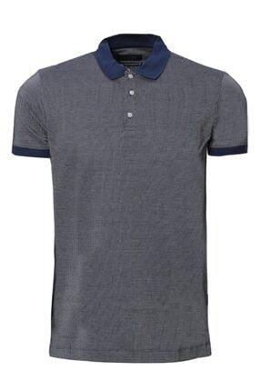 Lufian Erkek Gri Lacivert Botres Klasik Polo Tshirt