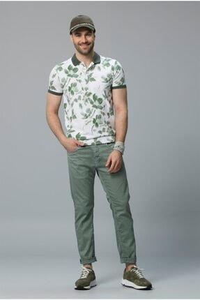 Lufian Erkek Yeşil Çiçek Desenli T-Shirt