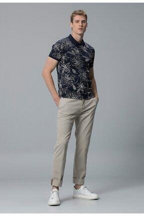 Lufian Erkek Lacivert  Polo Yaka Kısa Kol T-shirt