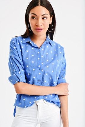 By Saygı Kadın Puantiye Nakışlı Gömlek S-20Y1030001