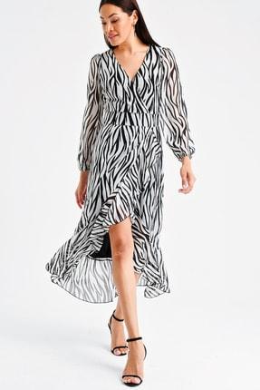 By Saygı Kadın Kruvaze Zebra Desen Volanlı Şifon Elbise S-20Y1920030