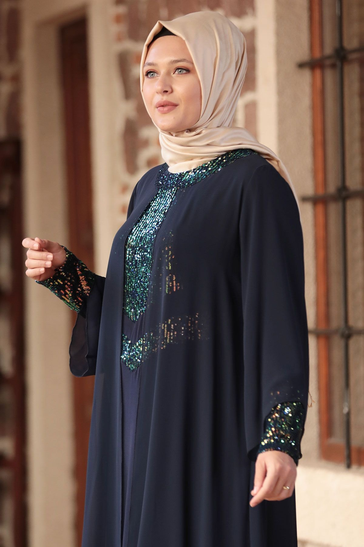 Amine Hüma Kadın Lacivert Narin Abiye 2