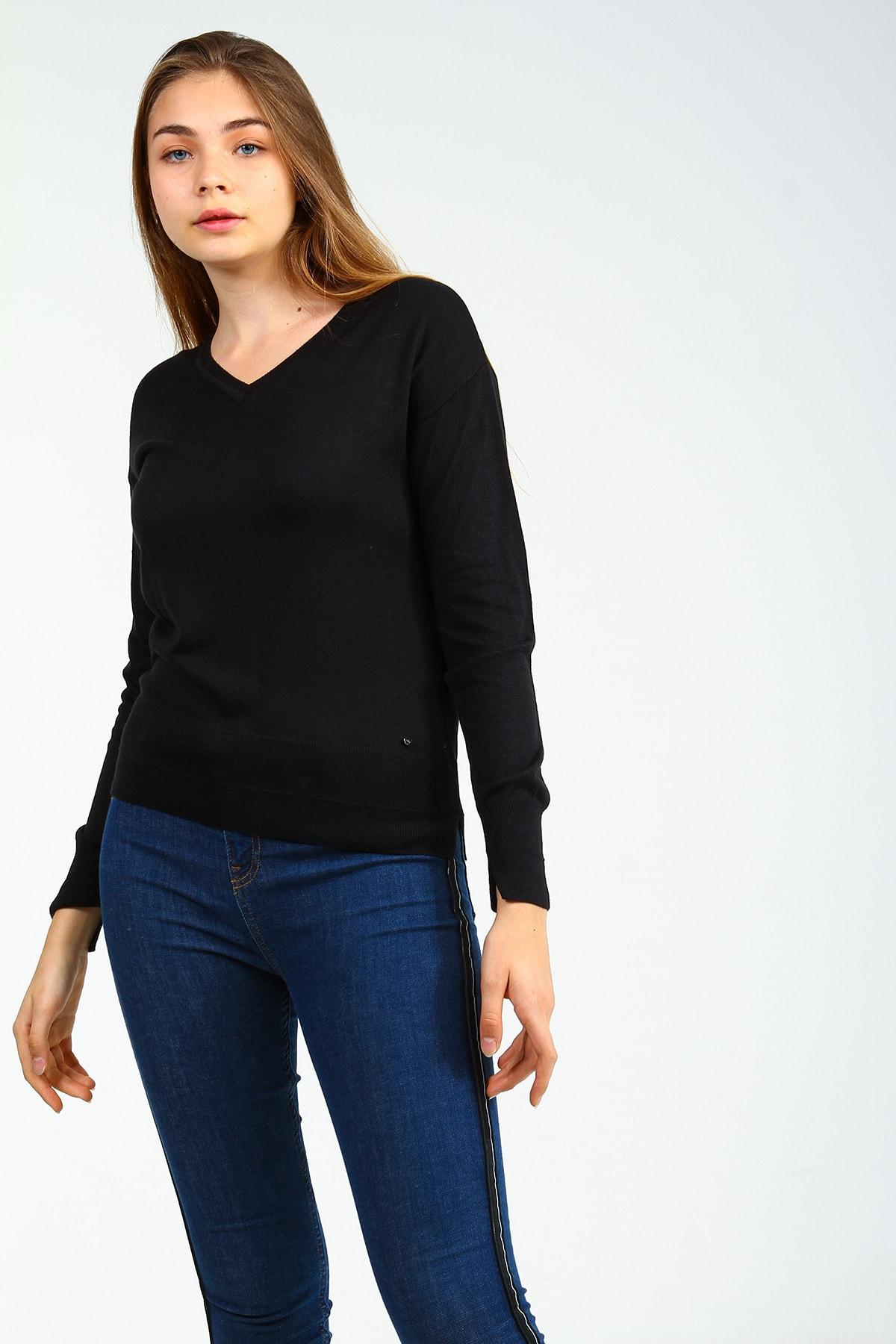 Collezione Kadın Siyah V Yakalı Uzun Kollu Basic Kazak 1