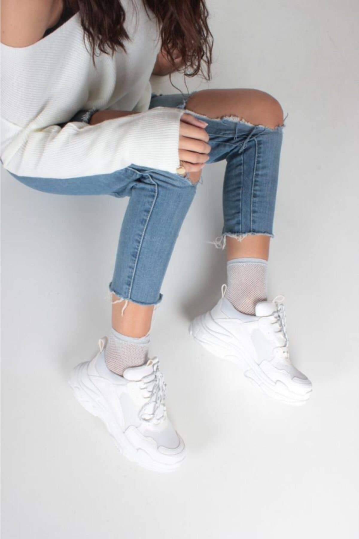 İnan Ayakkabı Kadın Beyaz Cilt Spor Ayakkabı Y5623 1
