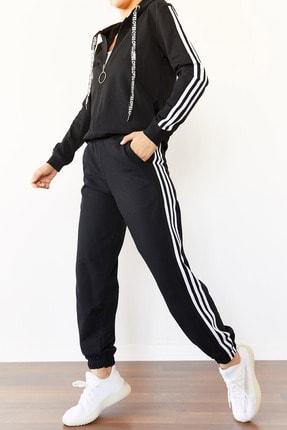 XENA Kadın Siyah Üç Şeritli Eşofman Takımı 0YZK8-10501-02