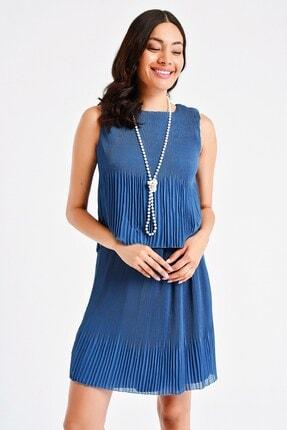 By Saygı Kadın Mavi Çift Kat Pliseli Şifon Elbise