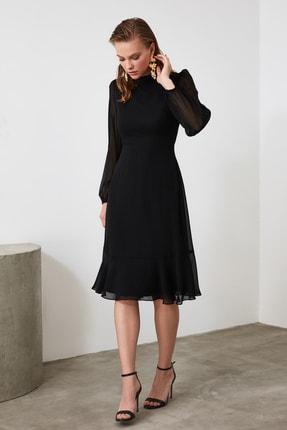TRENDYOLMİLLA Siyah Volanlı Elbise TWOAW20EL1313