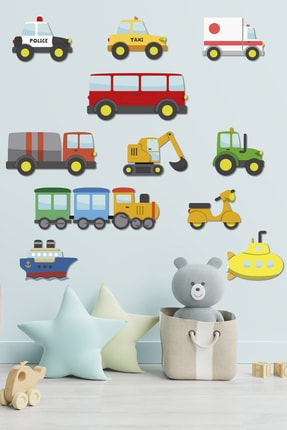 Tilki Dünyası Küçük Araçlar Çocuk Odası Duvar Sticker