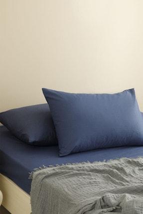 English Home Düz Penye Çift Kişilik Lastikli Çarşaf Takımı 160x200 Cm Gece Mavisi