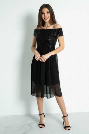 Sateen Kadın Siyah Pul Detay Eteği Piliseli Elbise
