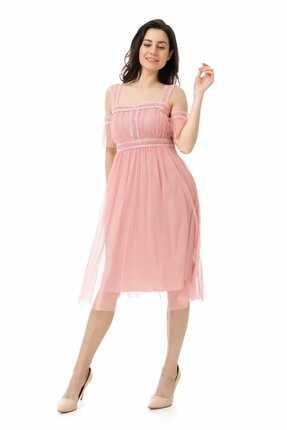 Sateen Kadın Pudra Dantelli Tül Elbise