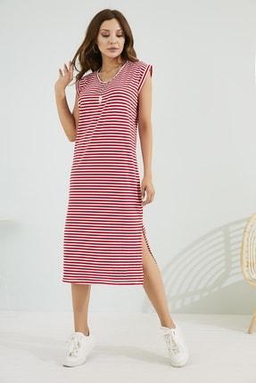 Sateen Kadın Kırmızı Rahat Kesim Yırtmaçlı Elbise