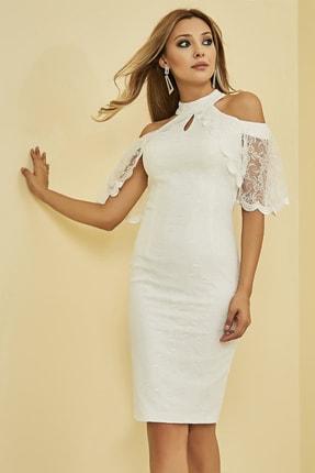 Sateen Kadın Beyaz Kol Detaylı Dantelli Elbise