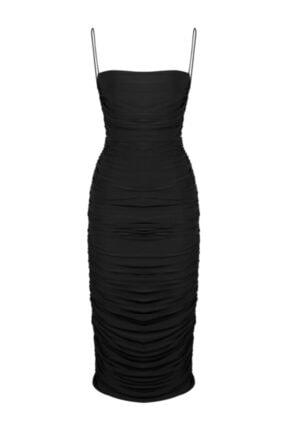 Whenever Company Kadın Siyah İnce Askılı Midi Abiye Elbise