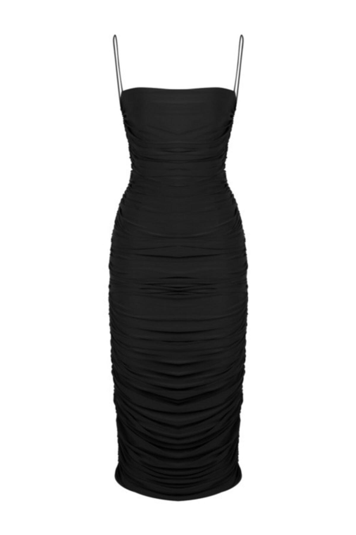 Whenever Company Kadın Siyah İnce Askılı Midi Abiye Elbise 1