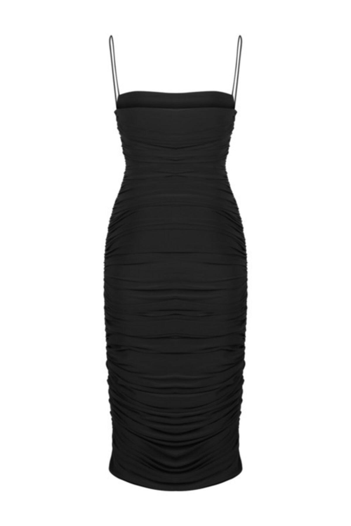 Whenever Company Kadın Siyah İnce Askılı Midi Abiye Elbise 2