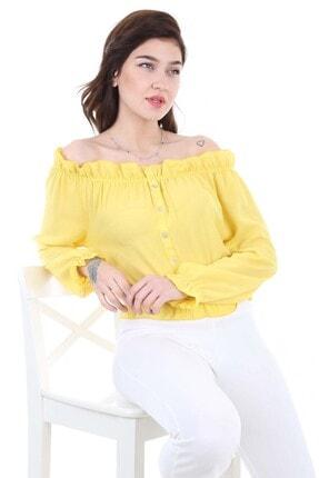 Bigdart Kadın Sarı Lastikli Süs Düğmeli Bluz 0356