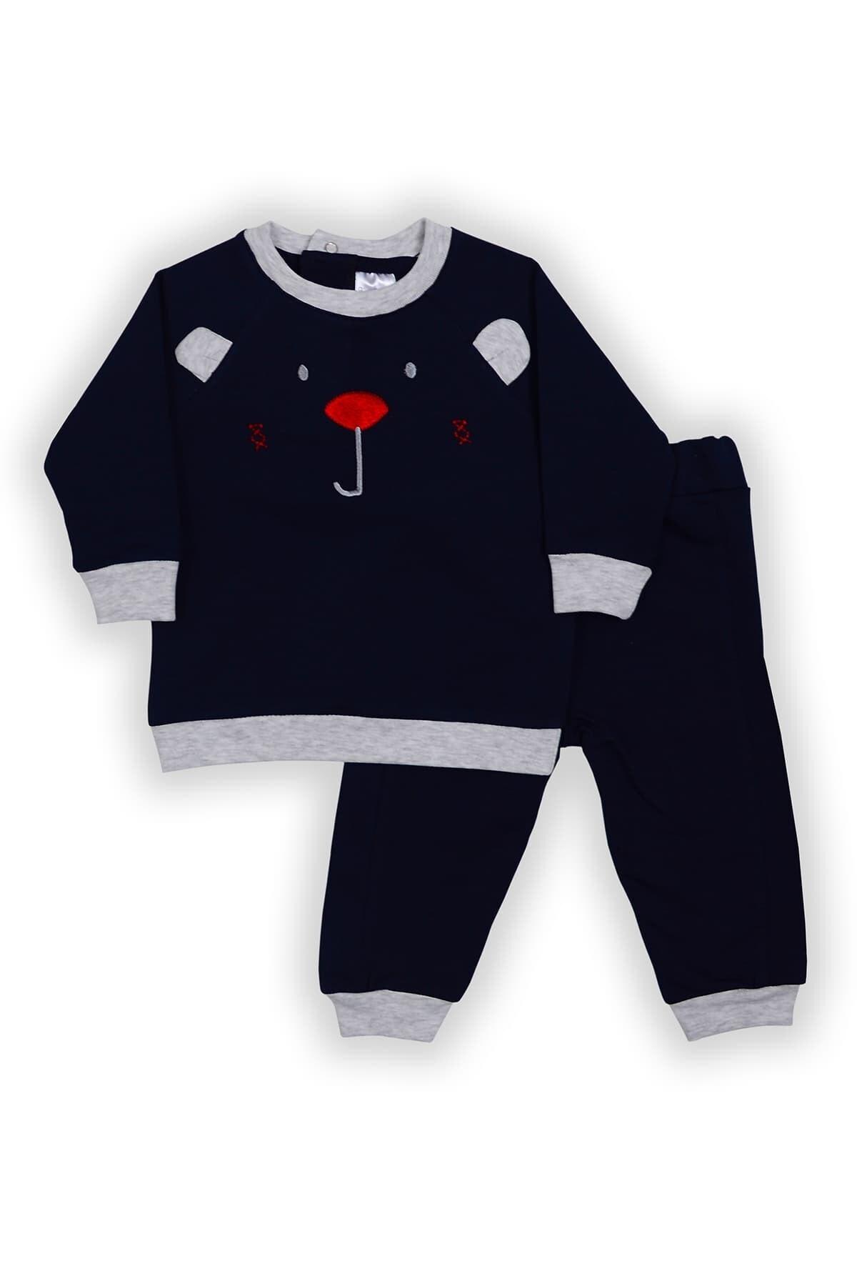Pierre Cardin Baby Pierre Cardin Ayı Figürlü Bebek Takımı Lacivert-gri 1