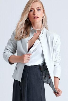 Derimod Kadın Beyaz Viola Deri Ceket