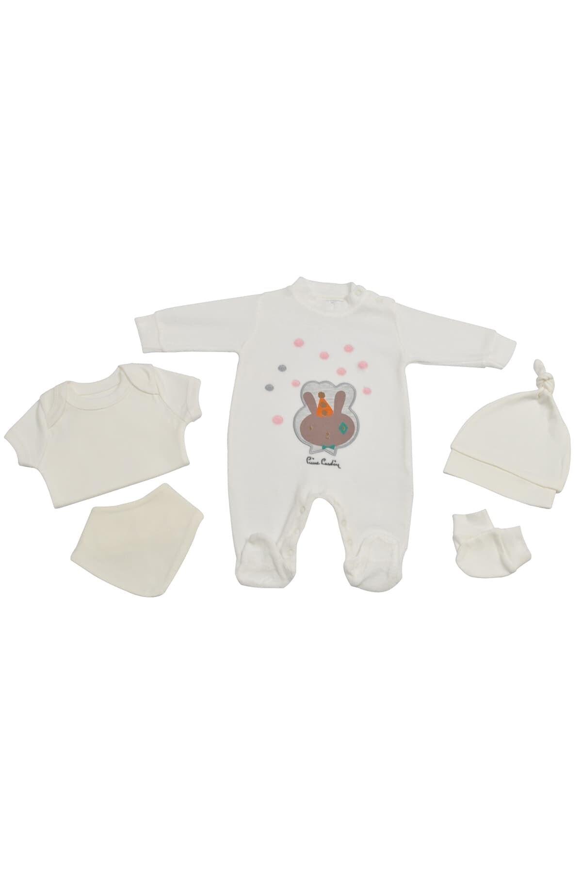 Pierre Cardin Baby Pierre Cardin Yenidoğan Tavşanlı Kadife Tulumlu Bebek Seti Ekru 1